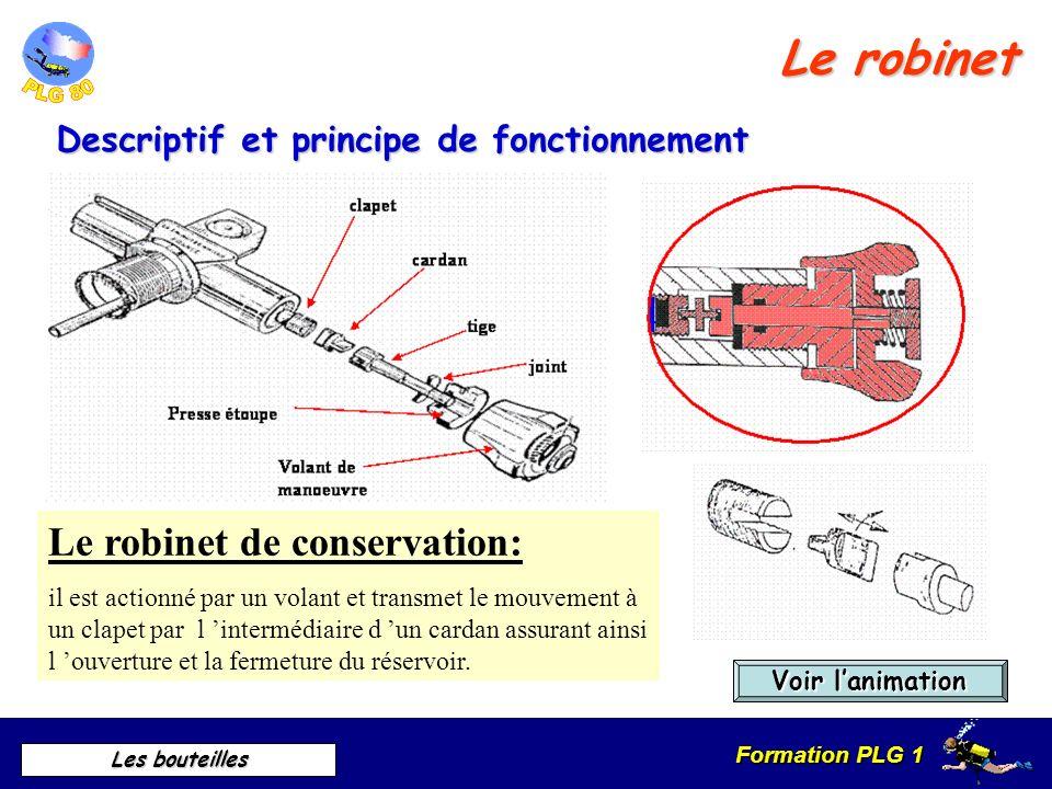 Formation PLG 1 Les bouteilles La robinetterie Coupe schématique dun robinet avec réserve Le Robinet La réserve