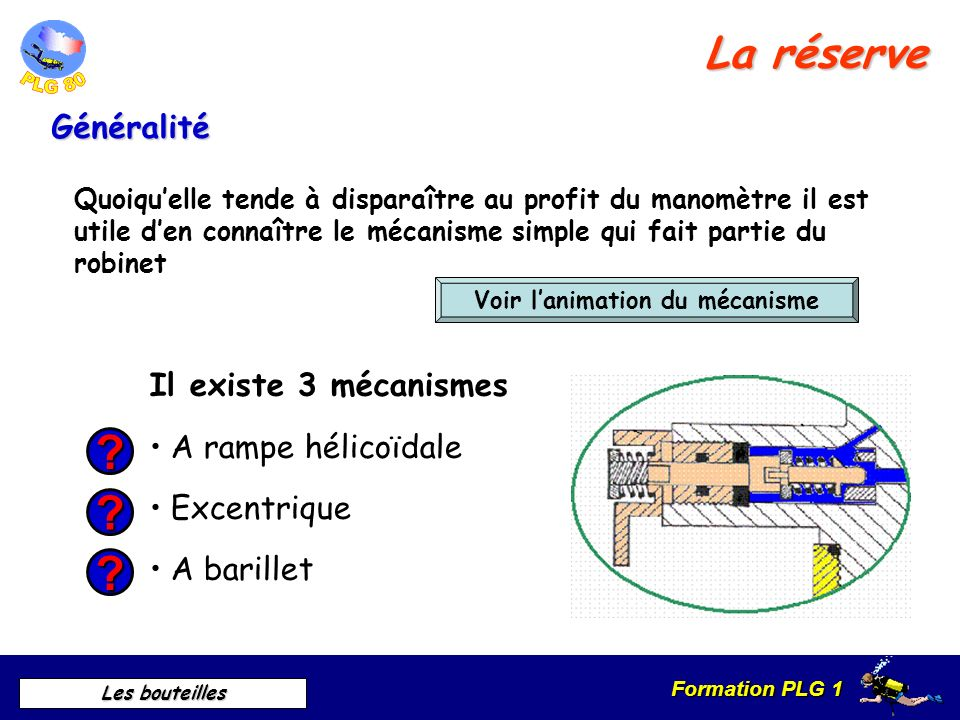 Formation PLG 1 Les bouteilles Descriptif et principe de fonctionnement Le robinet Le robinet de conservation: il est actionné par un volant et transm