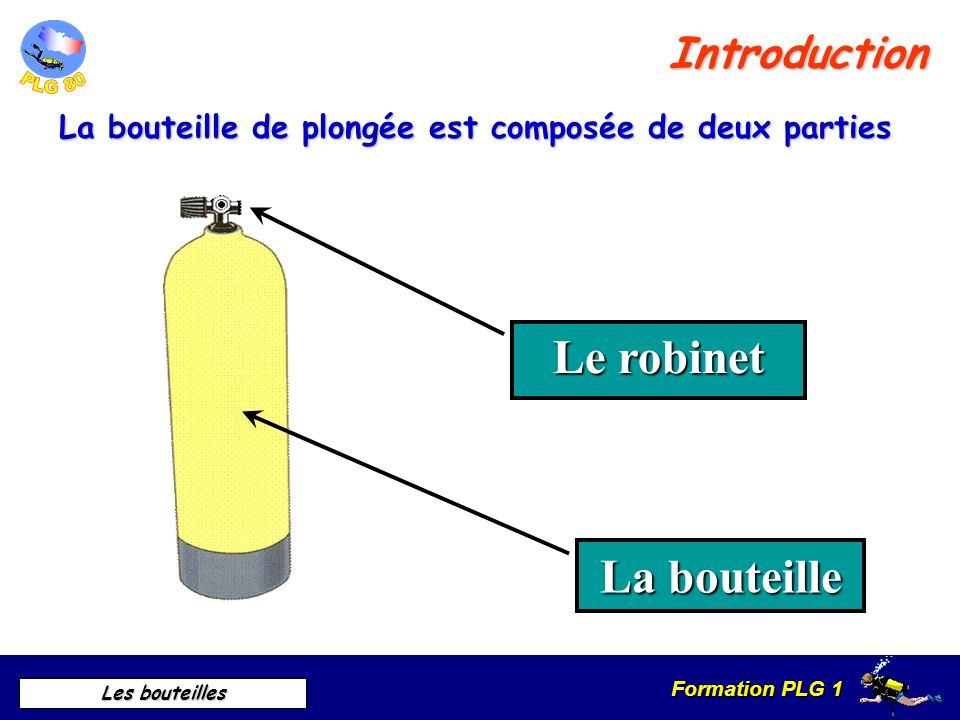 Formation PLG 1 Les bouteilles Introduction La bouteille de plongée est composée de deux parties Le robinet La bouteille