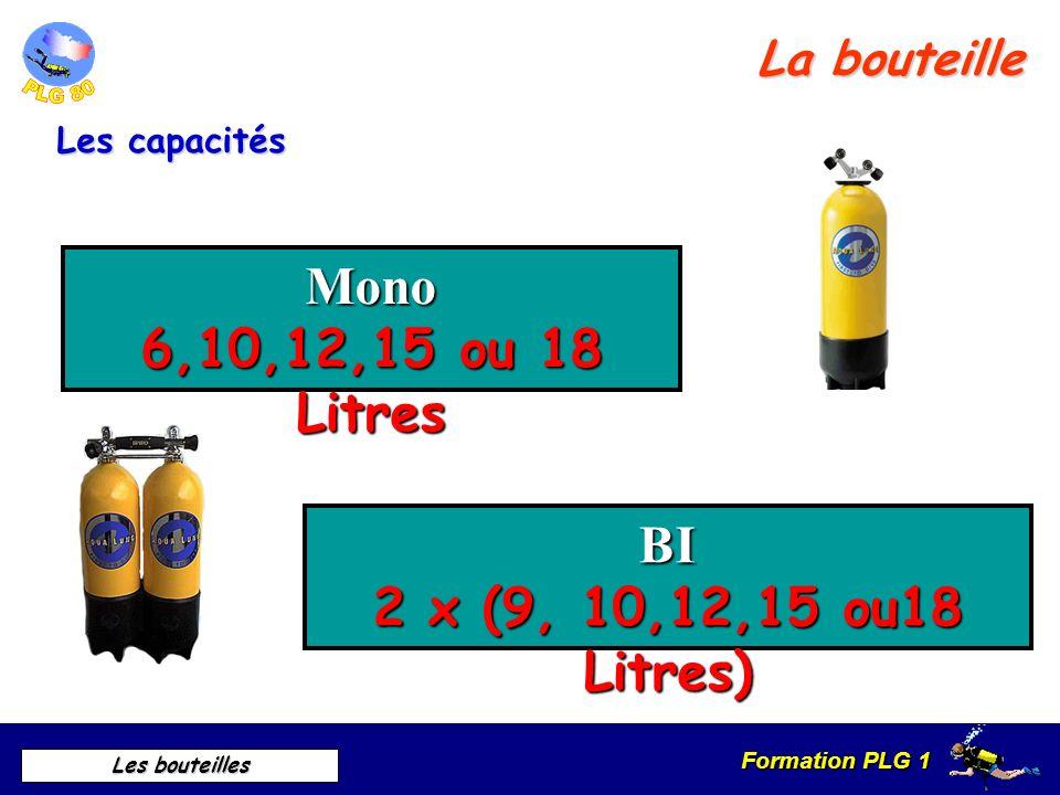 Formation PLG 1 Les bouteilles Les capacités Mono 6,10,12,15 ou 18 Litres BI 2 x (9, 10,12,15 ou18 Litres) La bouteille