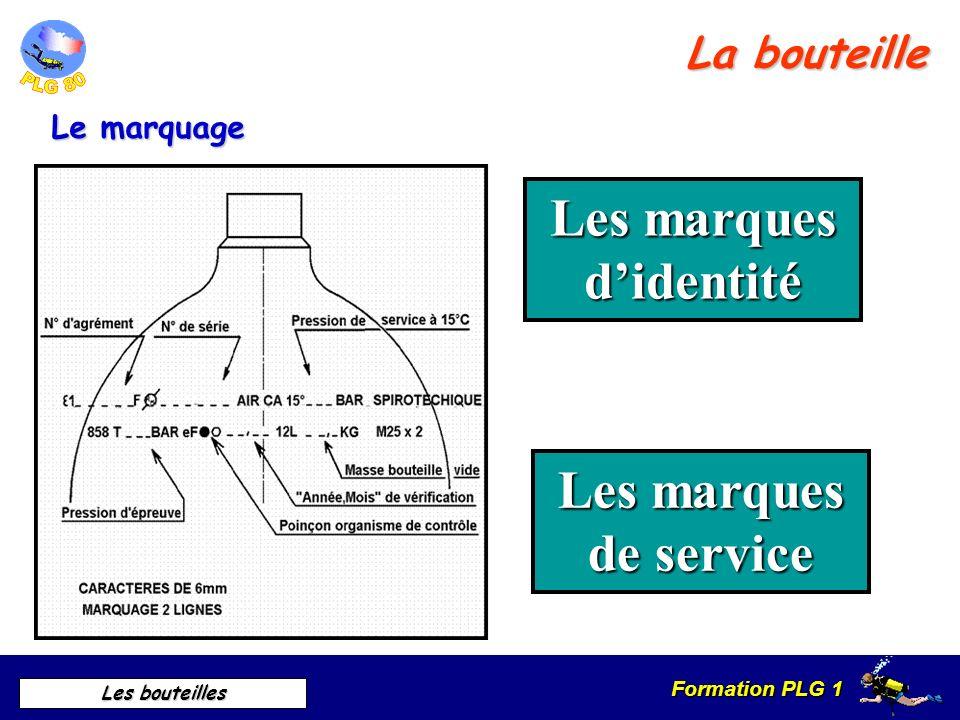 Formation PLG 1 Les bouteilles Le marquage Les marques didentité Les marques de service La bouteille