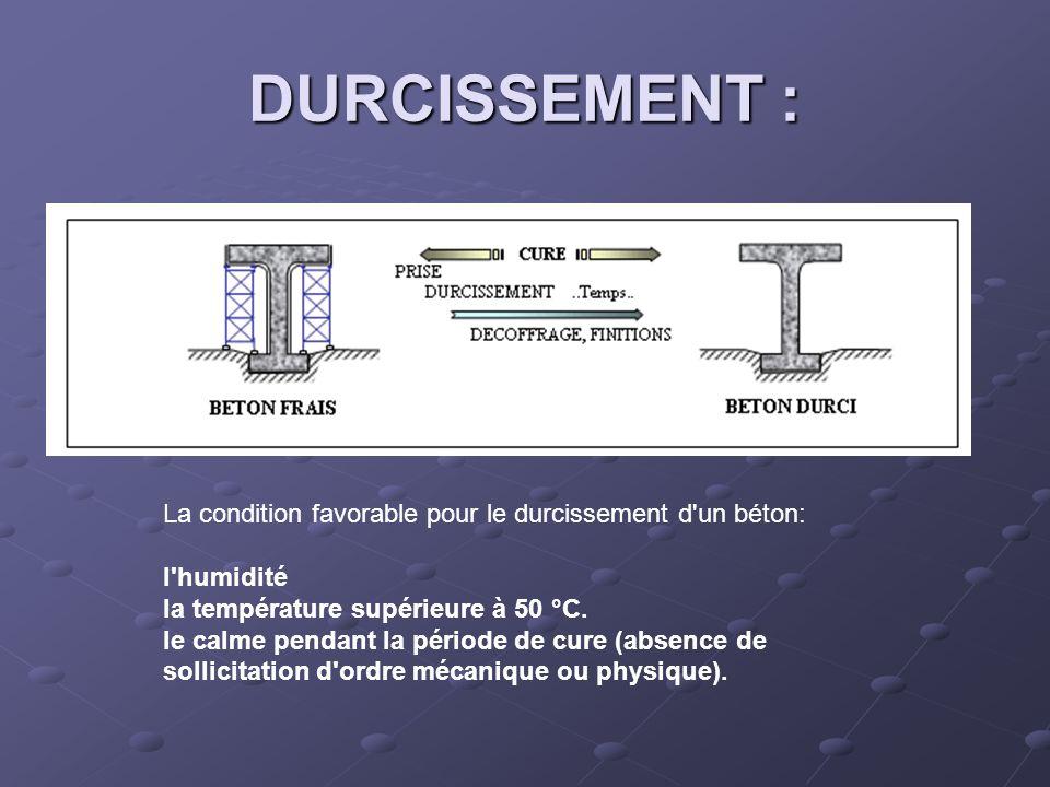 DURCISSEMENT : La condition favorable pour le durcissement d'un béton: l'humidité la température supérieure à 50 °C. le calme pendant la période de cu