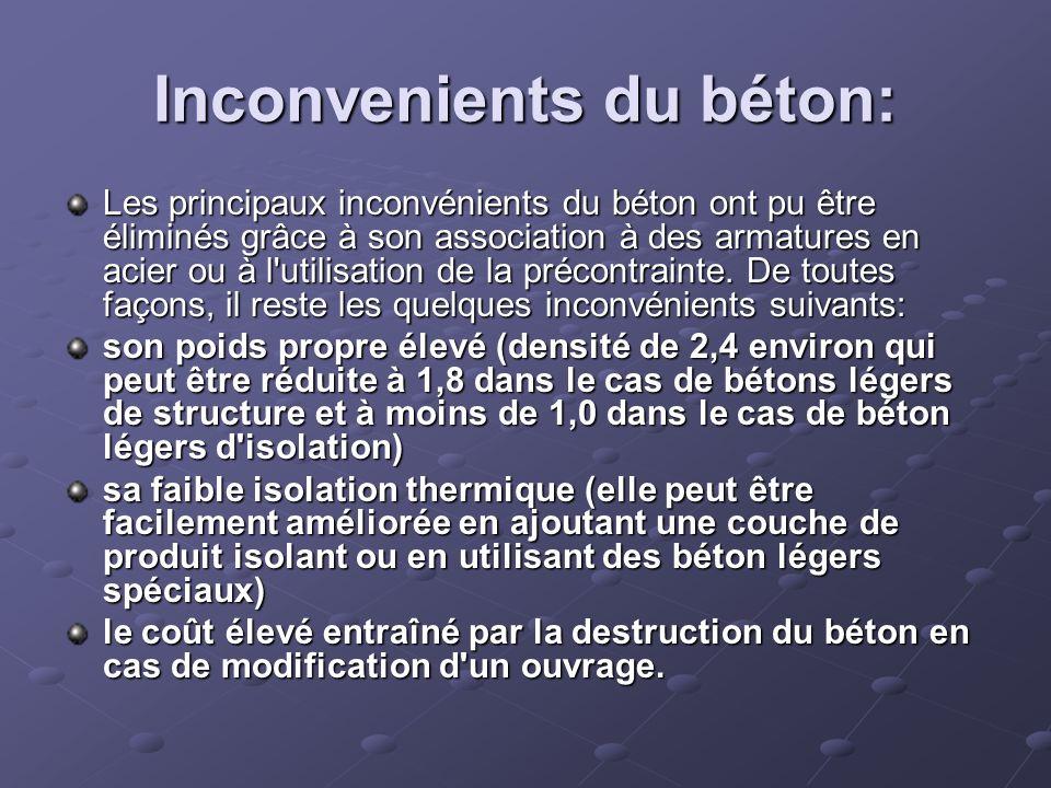 Inconvenients du béton: Les principaux inconvénients du béton ont pu être éliminés grâce à son association à des armatures en acier ou à l'utilisation