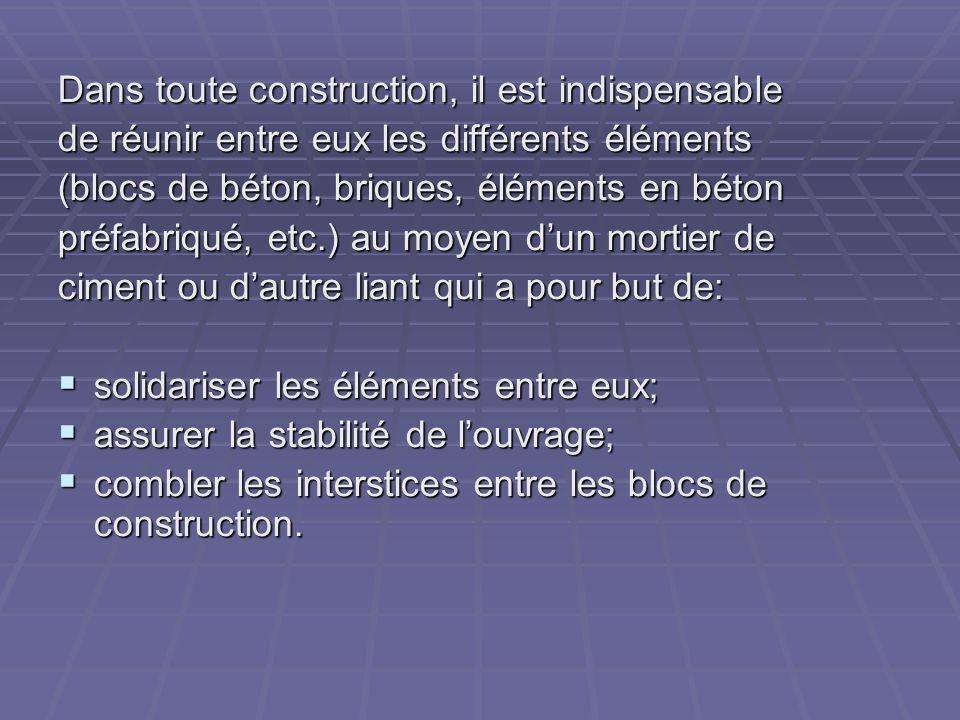 Le mortier est obtenu par le mélange dun liant (chaux ou ciment), de sable, deau et éventuellement dadditions.
