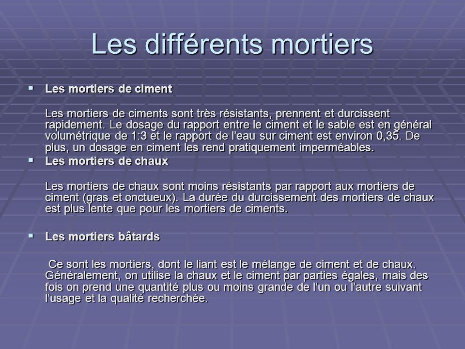 Les différents mortiers Les mortiers de ciment Les mortiers de ciment Les mortiers de ciments sont très résistants, prennent et durcissent rapidement.