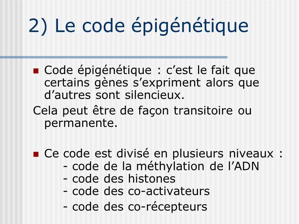 2) Le code épigénétique Code épigénétique : cest le fait que certains gènes sexpriment alors que dautres sont silencieux. Cela peut être de façon tran