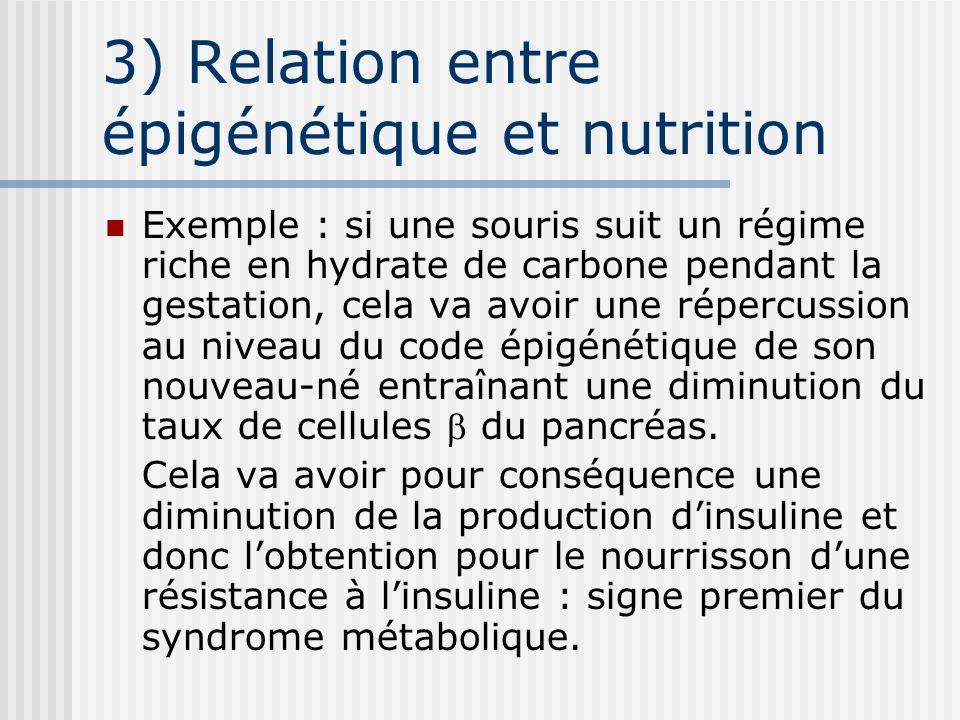 3) Relation entre épigénétique et nutrition Exemple : si une souris suit un régime riche en hydrate de carbone pendant la gestation, cela va avoir une