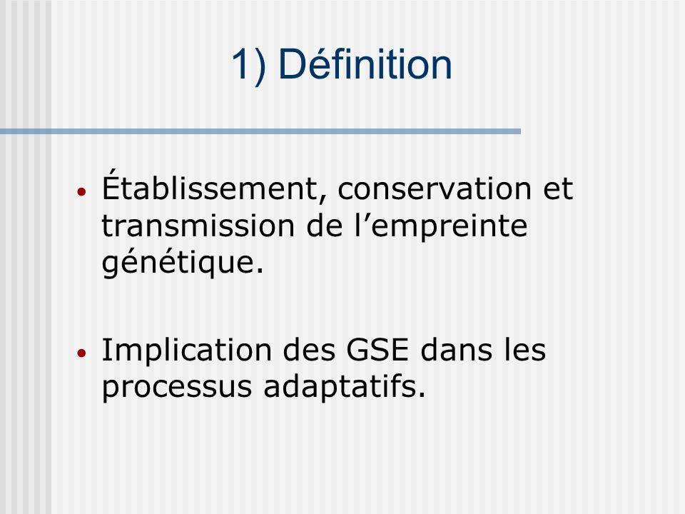 Établissement, conservation et transmission de lempreinte génétique. Implication des GSE dans les processus adaptatifs. 1) Définition
