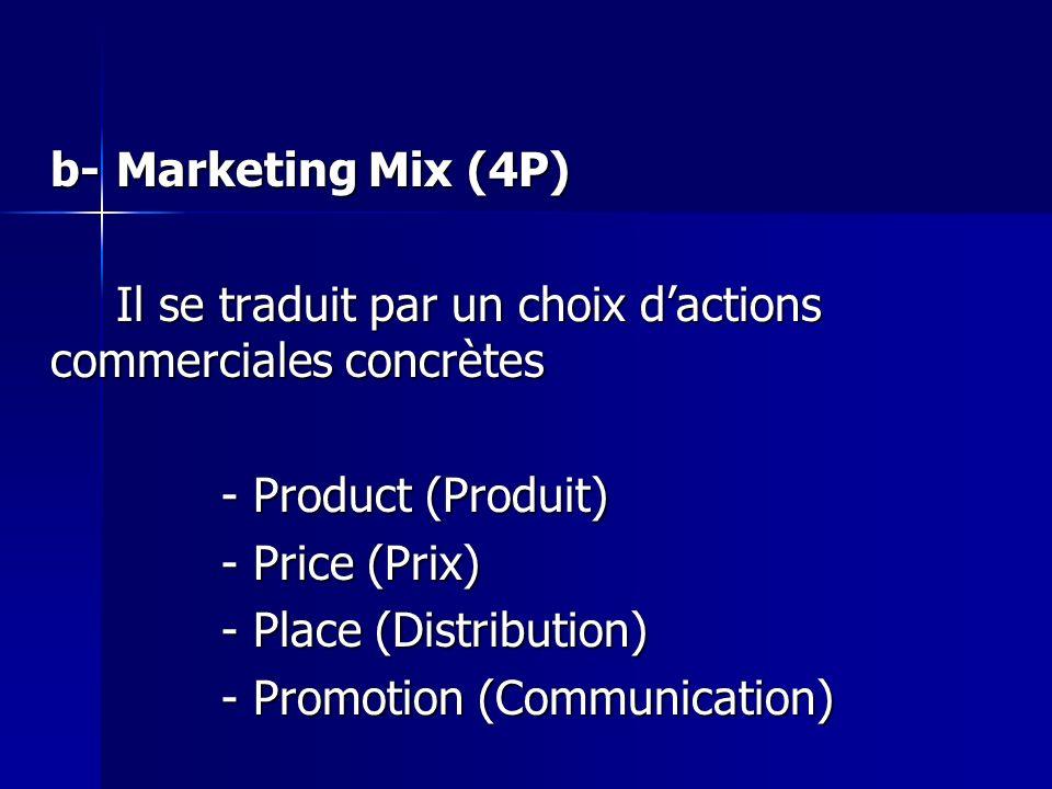 b-Marketing Mix (4P) Il se traduit par un choix dactions commerciales concrètes - Product (Produit) - Price (Prix) - Place (Distribution) - Promotion