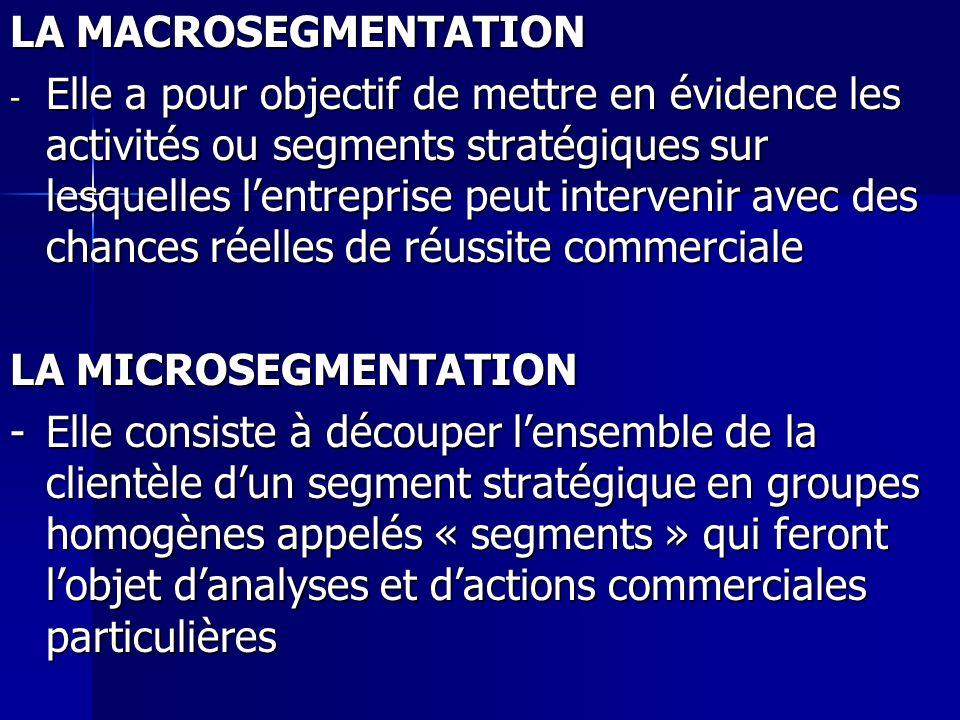 LA MACROSEGMENTATION - Elle a pour objectif de mettre en évidence les activités ou segments stratégiques sur lesquelles lentreprise peut intervenir av