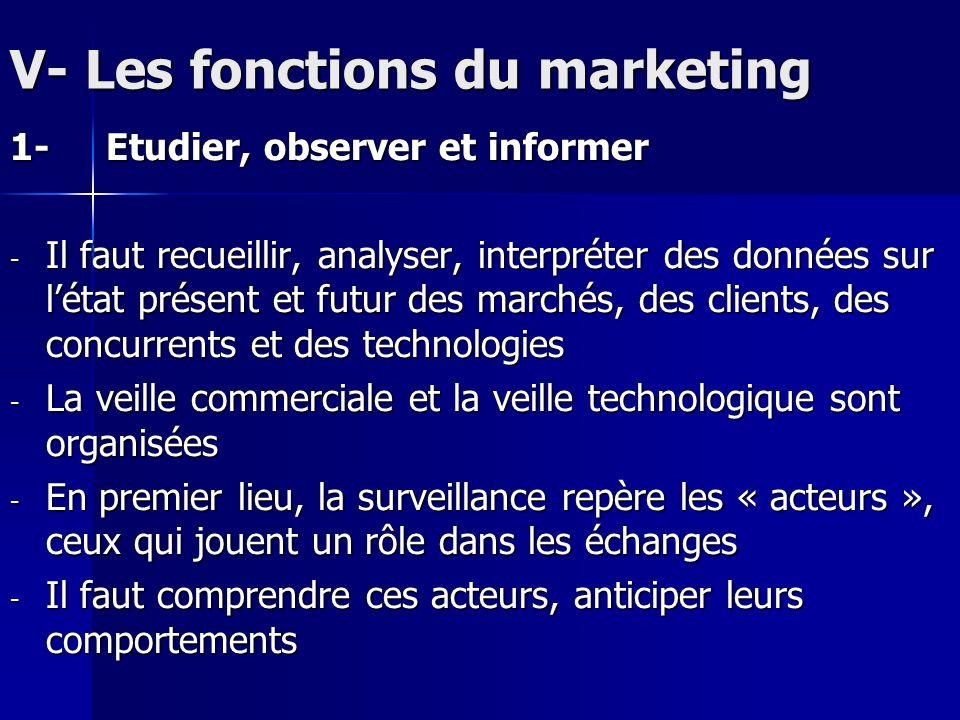 V- Les fonctions du marketing 1-Etudier, observer et informer - Il faut recueillir, analyser, interpréter des données sur létat présent et futur des m