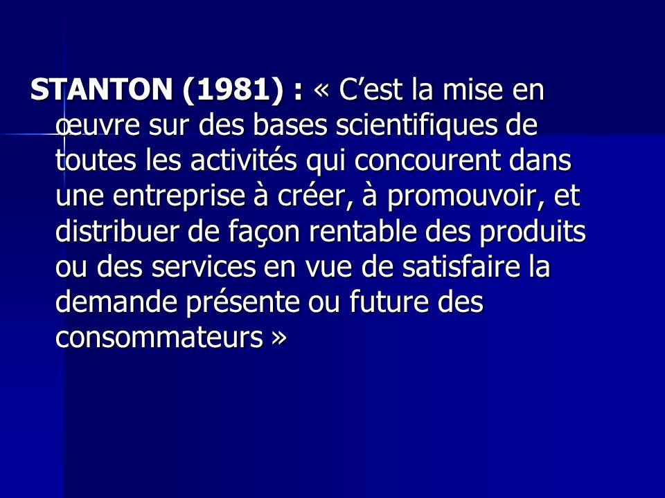 STANTON (1981) : « Cest la mise en œuvre sur des bases scientifiques de toutes les activités qui concourent dans une entreprise à créer, à promouvoir,