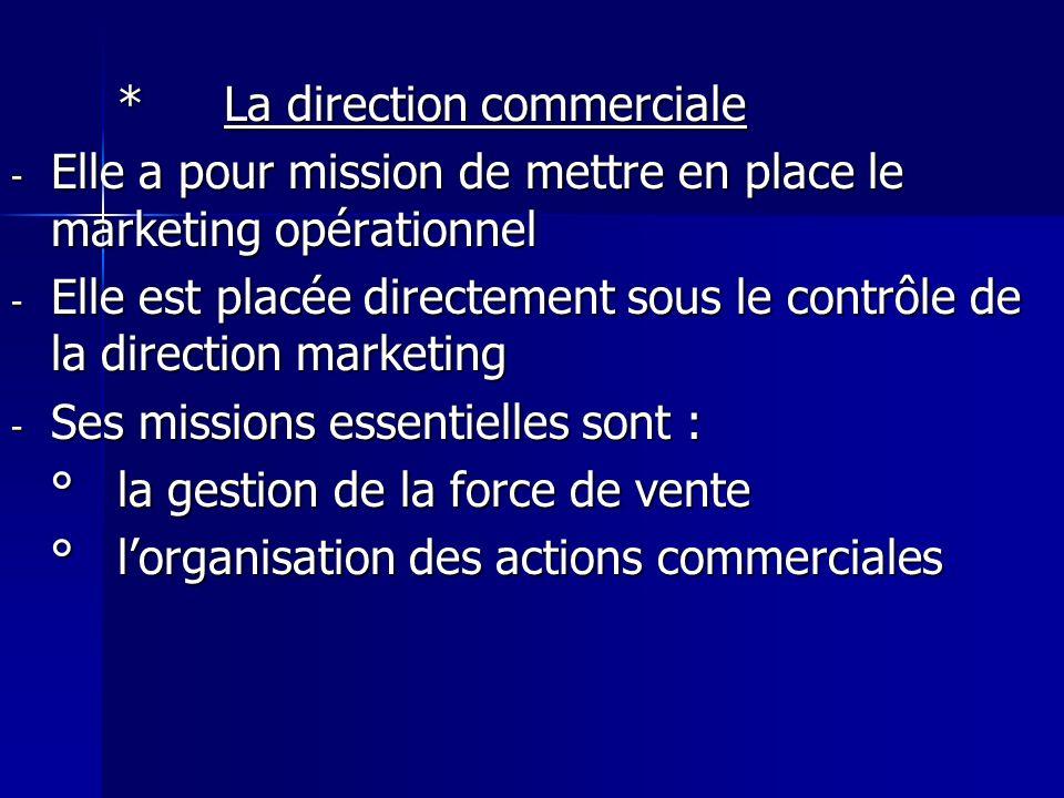 *La direction commerciale - Elle a pour mission de mettre en place le marketing opérationnel - Elle est placée directement sous le contrôle de la dire