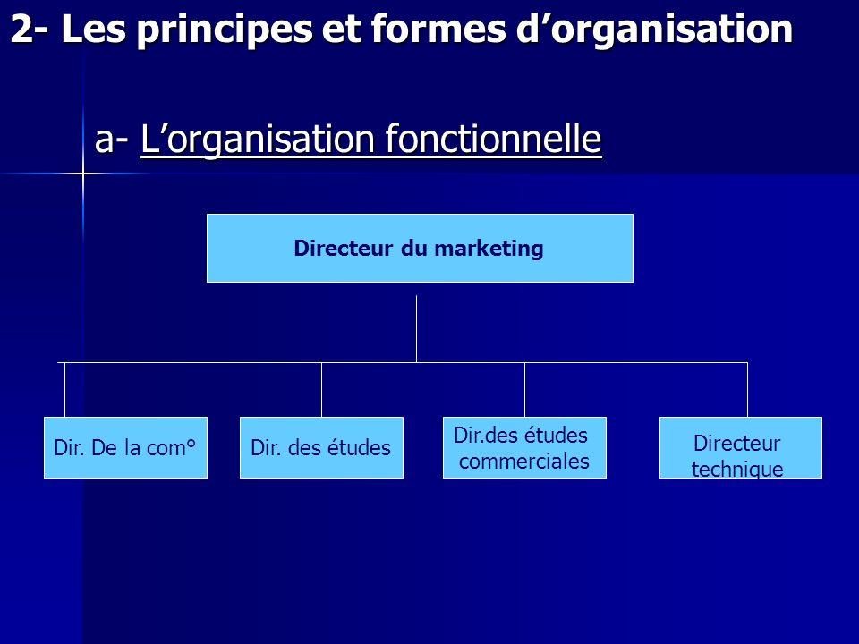 2- Les principes et formes dorganisation a- Lorganisation fonctionnelle Directeur du marketing Dir. De la com°Dir. des études commerciales Directeur t