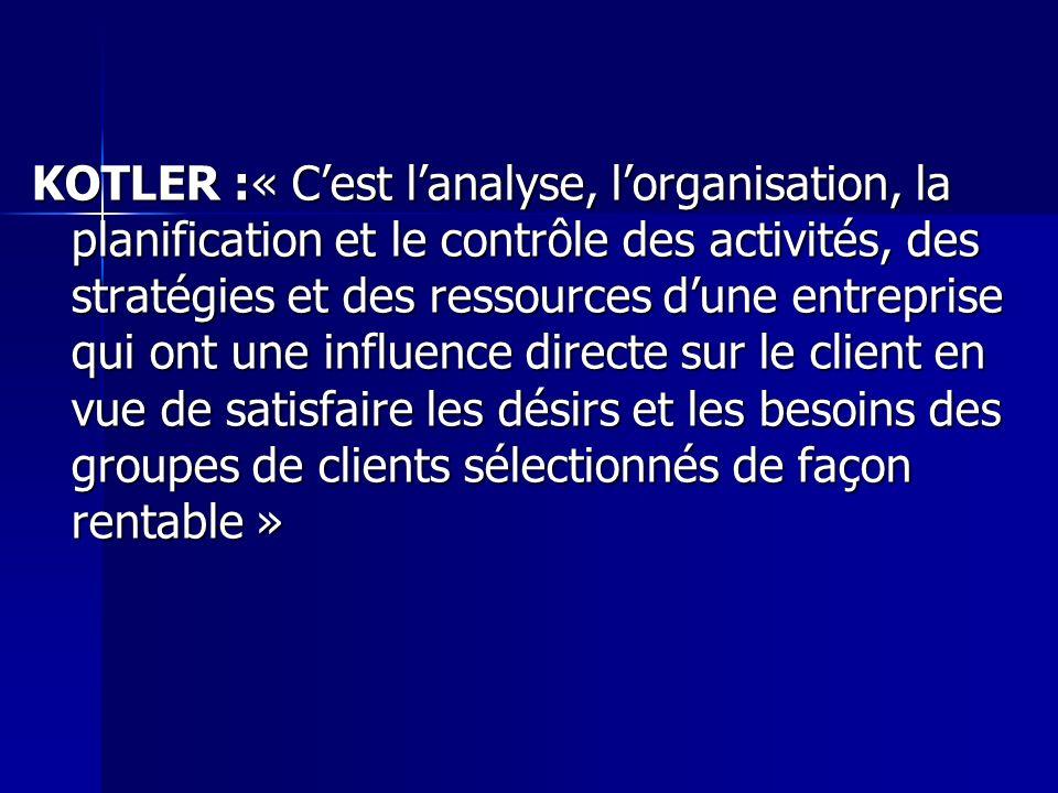 KOTLER :« Cest lanalyse, lorganisation, la planification et le contrôle des activités, des stratégies et des ressources dune entreprise qui ont une in
