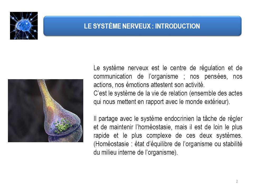 LE SYSTÈME NERVEUX : INTRODUCTION Le système nerveux est le centre de régulation et de communication de lorganisme ; nos pensées, nos actions, nos émo