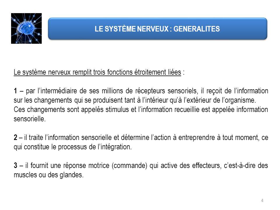 4 LE SYSTÈME NERVEUX : GENERALITES Le système nerveux remplit trois fonctions étroitement liées : 1 – par lintermédiaire de ses millions de récepteurs