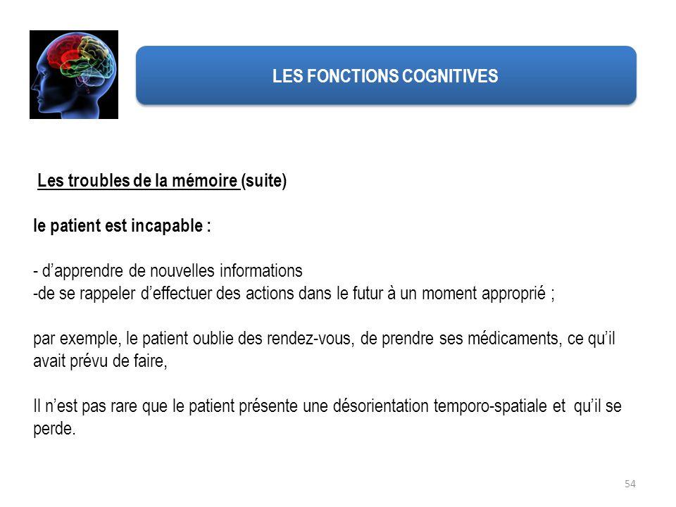 54 Les troubles de la mémoire (suite) le patient est incapable : - dapprendre de nouvelles informations -de se rappeler deffectuer des actions dans le