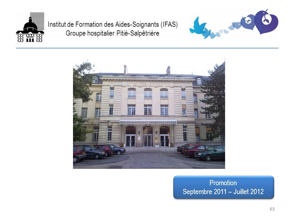 63 FIN Institut de Formation des Aides-Soignants (IFAS) Groupe hospitalier Pitié-Salpêtrière Promotion Septembre 2011 – Juillet 2012 Promotion Septemb