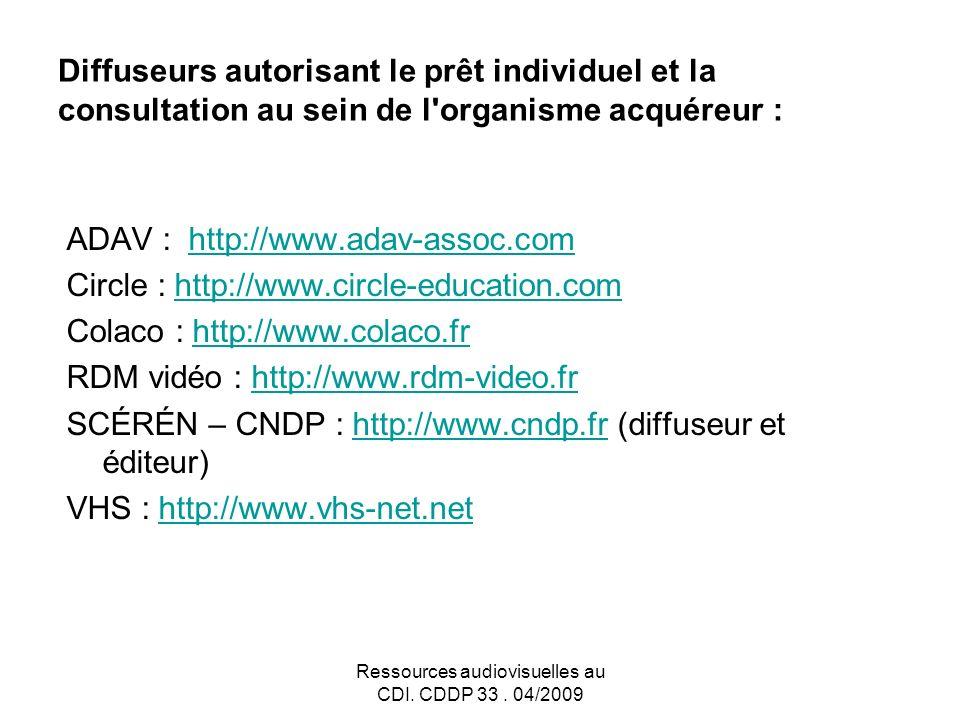 Ressources audiovisuelles au CDI. CDDP 33.