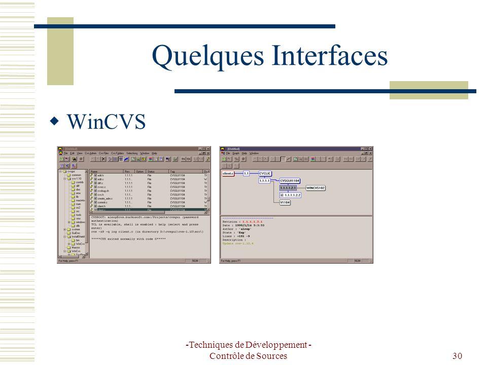 -Techniques de Développement - Contrôle de Sources30 Quelques Interfaces WinCVS