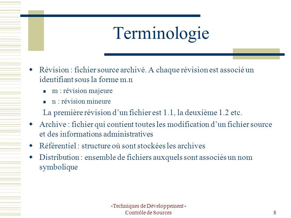 -Techniques de Développement - Contrôle de Sources8 Terminologie Révision : fichier source archivé. A chaque révision est associé un identifiant sous