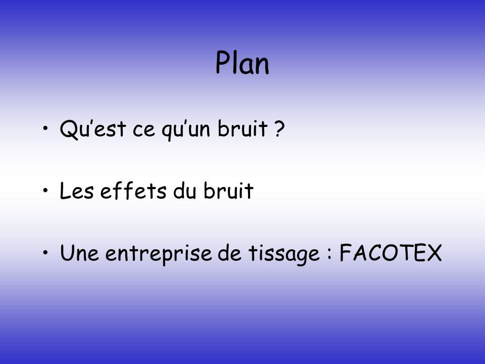Plan Quest ce quun bruit ? Les effets du bruit Une entreprise de tissage : FACOTEX