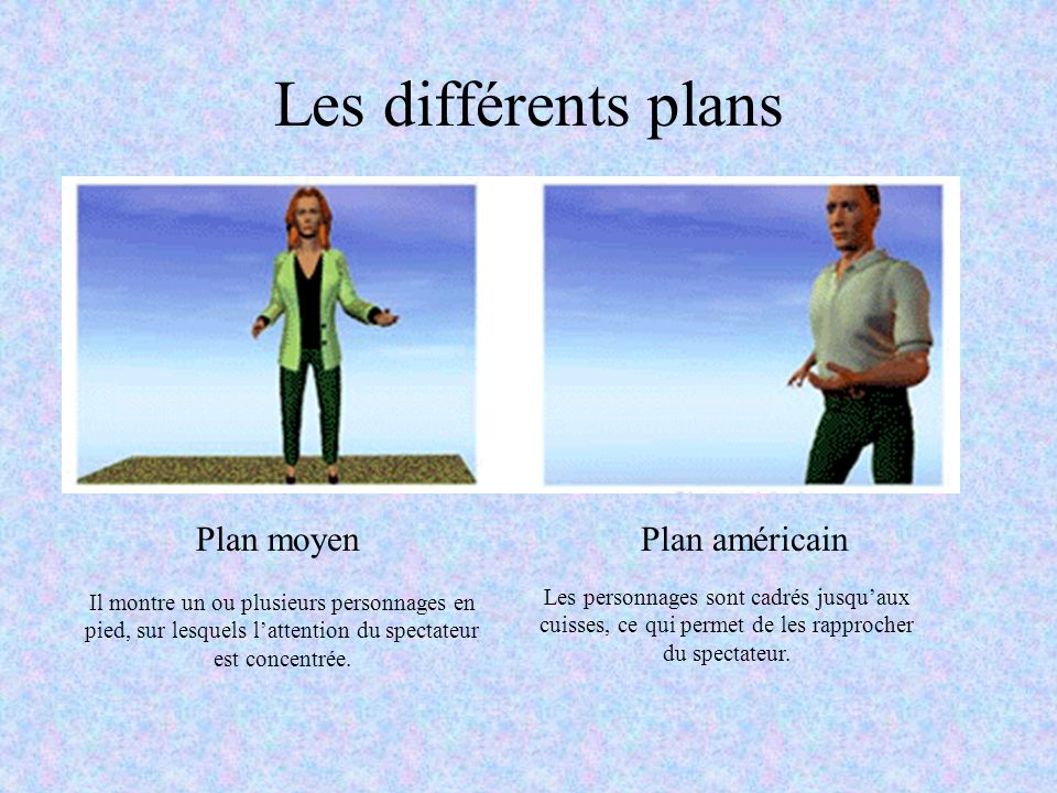 Les différents plans Plan moyenPlan américain Il montre un ou plusieurs personnages en pied, sur lesquels lattention du spectateur est concentrée. Les