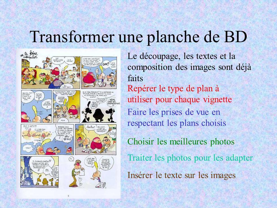 Transformer une planche de BD Le découpage, les textes et la composition des images sont déjà faits Repérer le type de plan à utiliser pour chaque vig