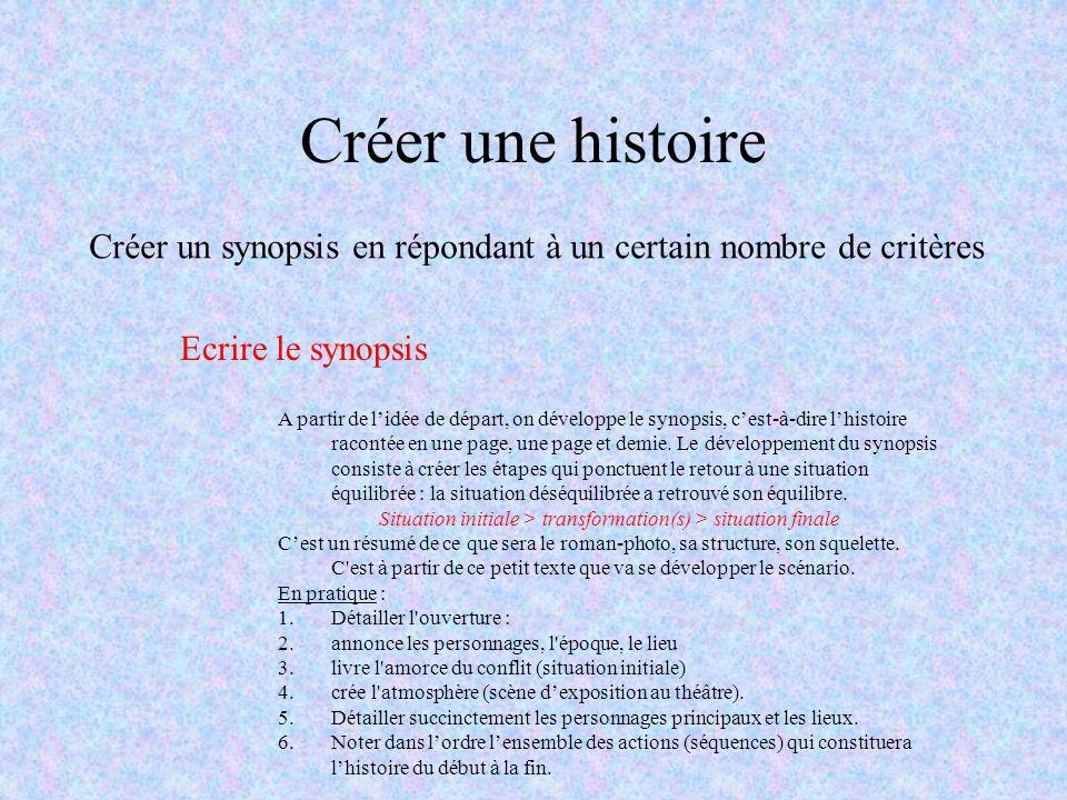 Créer une histoire Créer un synopsis en répondant à un certain nombre de critères A partir de lidée de départ, on développe le synopsis, cest-à-dire l