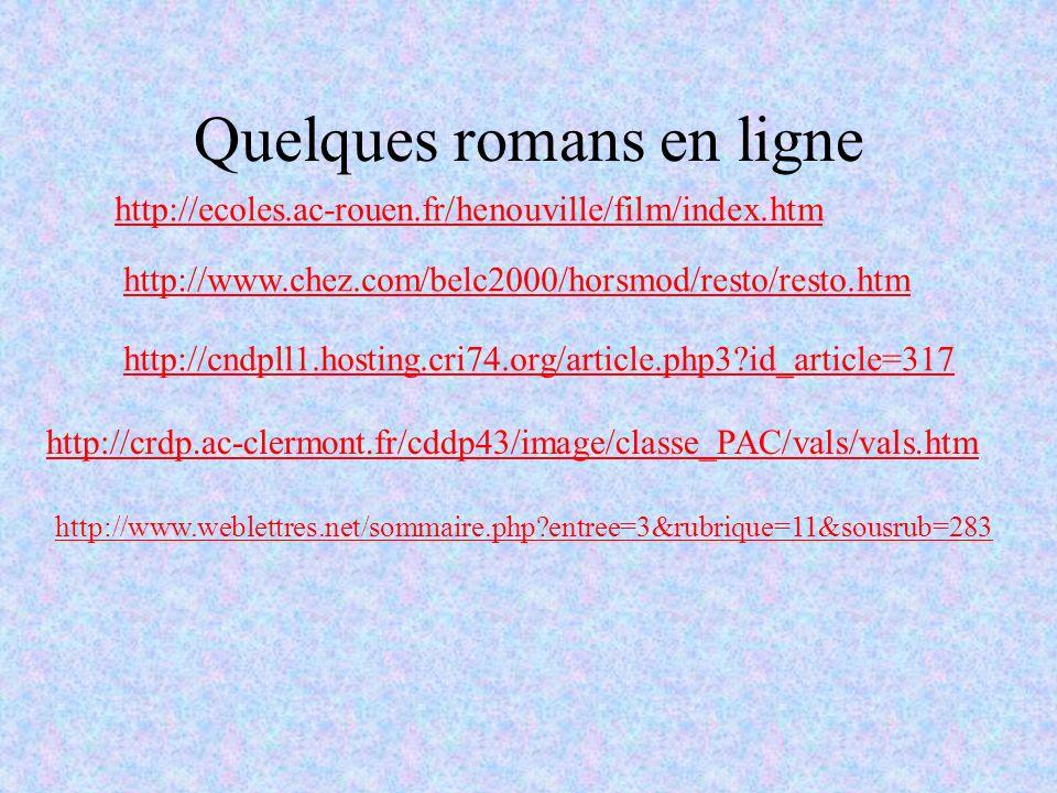Quelques romans en ligne http://ecoles.ac-rouen.fr/henouville/film/index.htm http://www.chez.com/belc2000/horsmod/resto/resto.htm http://cndpll1.hosti