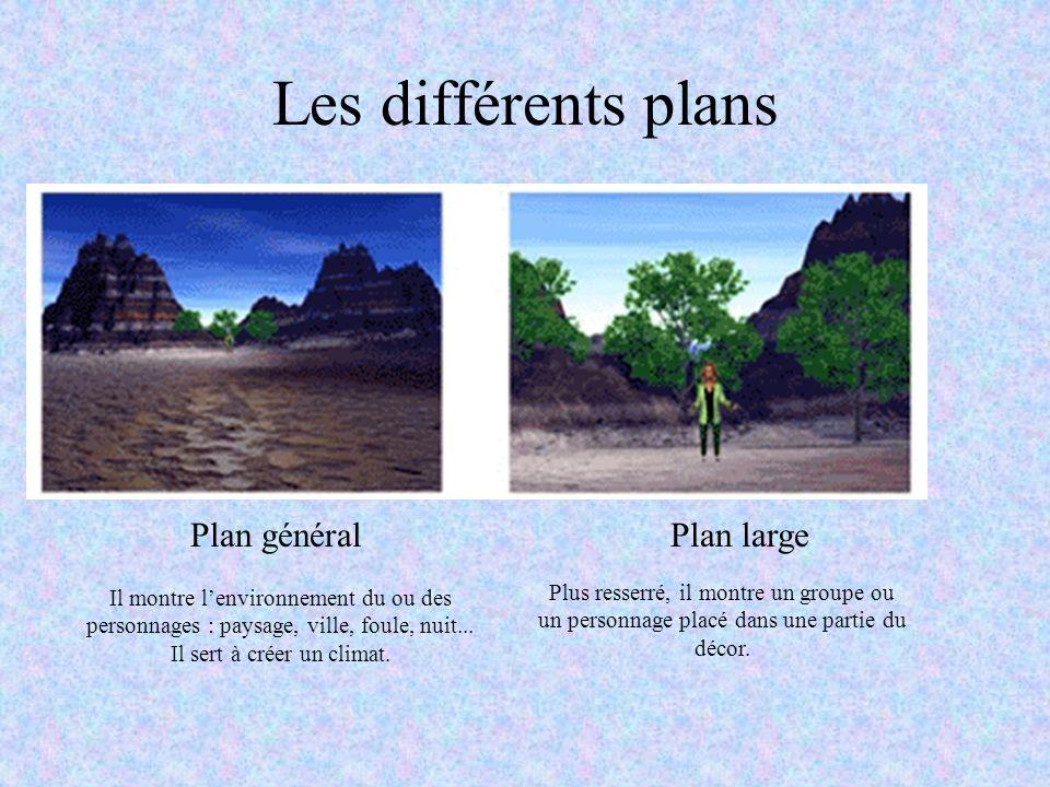 Les différents plans Plan généralPlan large Il montre lenvironnement du ou des personnages : paysage, ville, foule, nuit... Il sert à créer un climat.