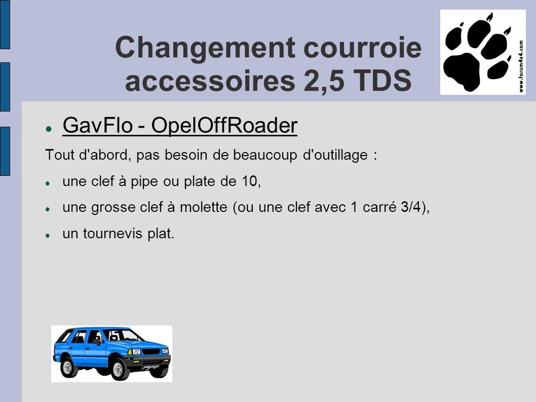 Changement courroie accessoires 2,5 TDS GavFlo - OpelOffRoader Tout d abord, pas besoin de beaucoup d outillage : une clef à pipe ou plate de 10, une grosse clef à molette (ou une clef avec 1 carré 3/4), un tournevis plat.