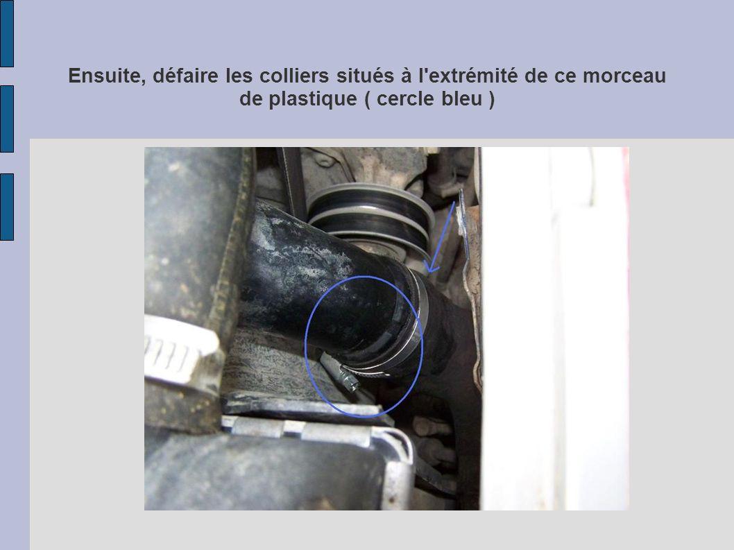 Ensuite, défaire les colliers situés à l extrémité de ce morceau de plastique ( cercle bleu )