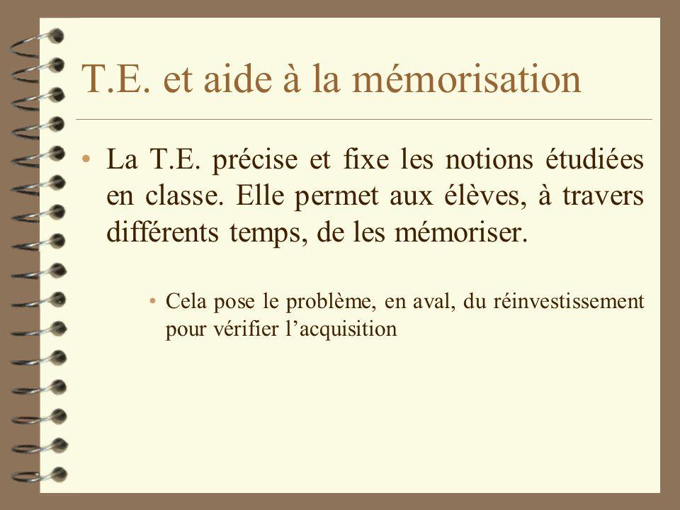 T.E. et aide à la mémorisation La T.E. précise et fixe les notions étudiées en classe. Elle permet aux élèves, à travers différents temps, de les mémo
