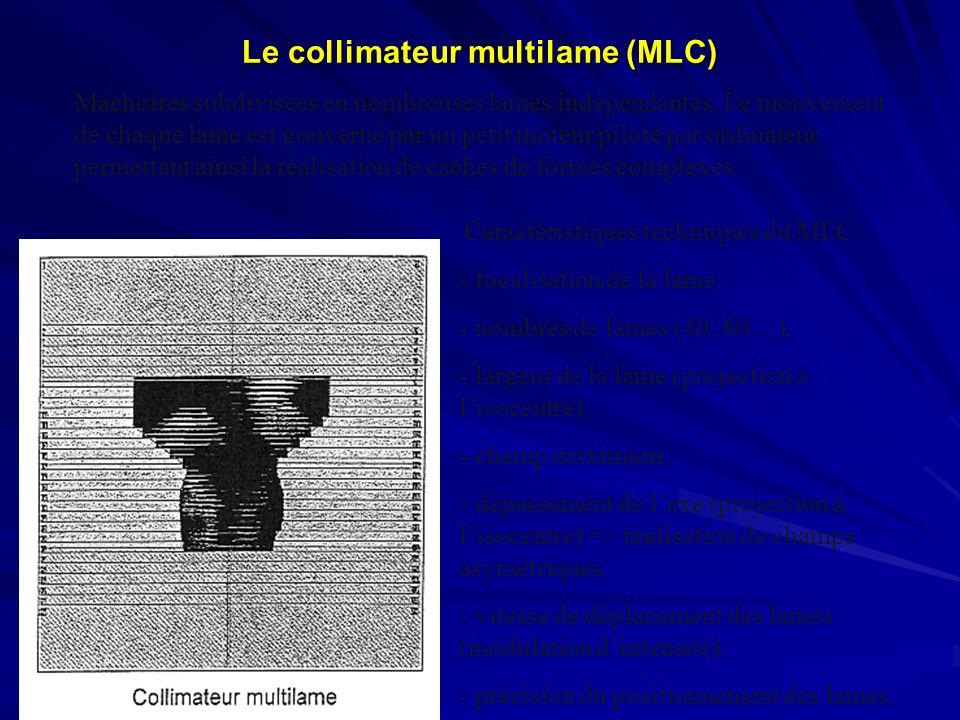 Le collimateur multilame (MLC) Mâchoires subdivisées en nombreuses lames indépendantes. Le mouvement de chaque lame est gouverné par un petit moteur p
