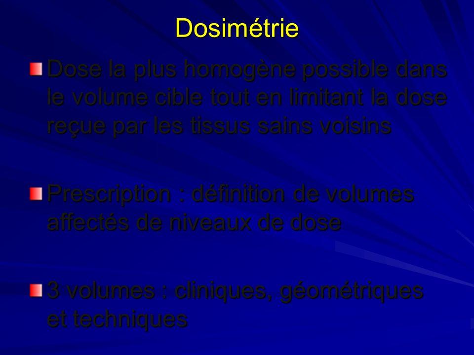 Dosimétrie Dose la plus homogène possible dans le volume cible tout en limitant la dose reçue par les tissus sains voisins Prescription : définition d