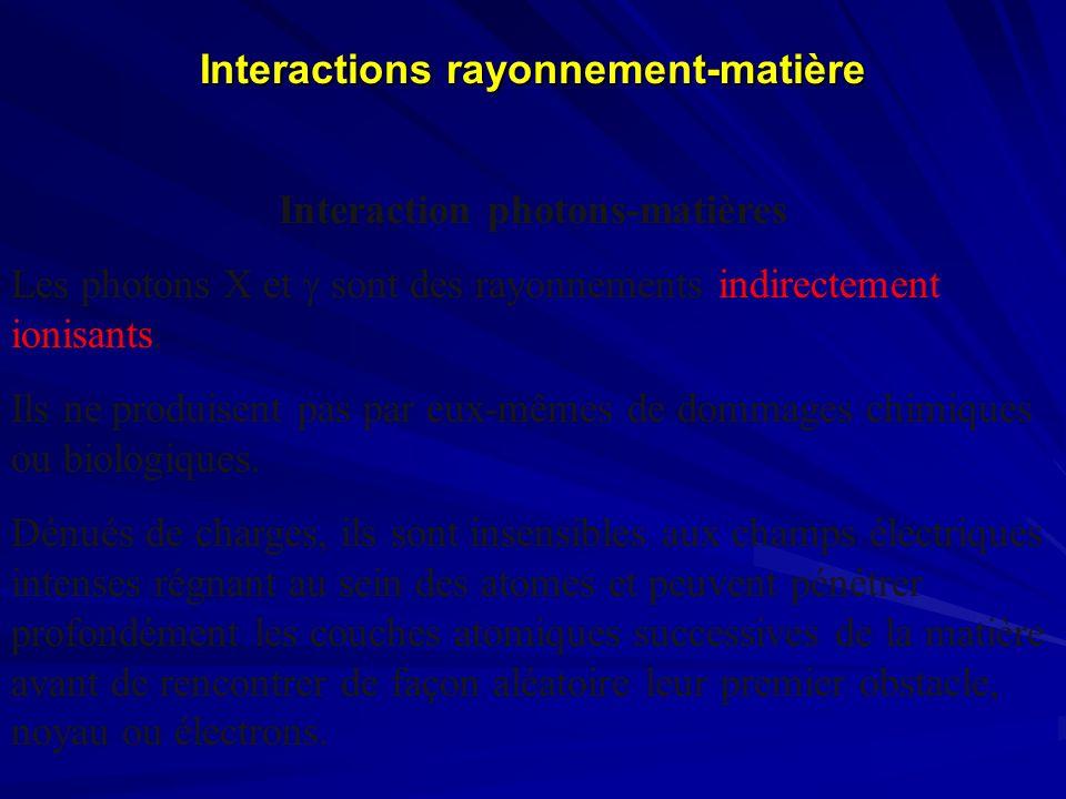 Interactions rayonnement-matière Interaction photons-matières Les photons X et sont des rayonnements indirectement ionisants. Ils ne produisent pas pa