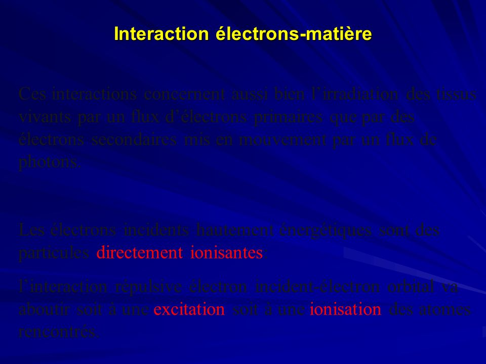 Modes daction des Radiations ionisantes Effets biologiques = chaîne de réactions Quatre étapes : Physique Physico chimique CellulaireTissulaire