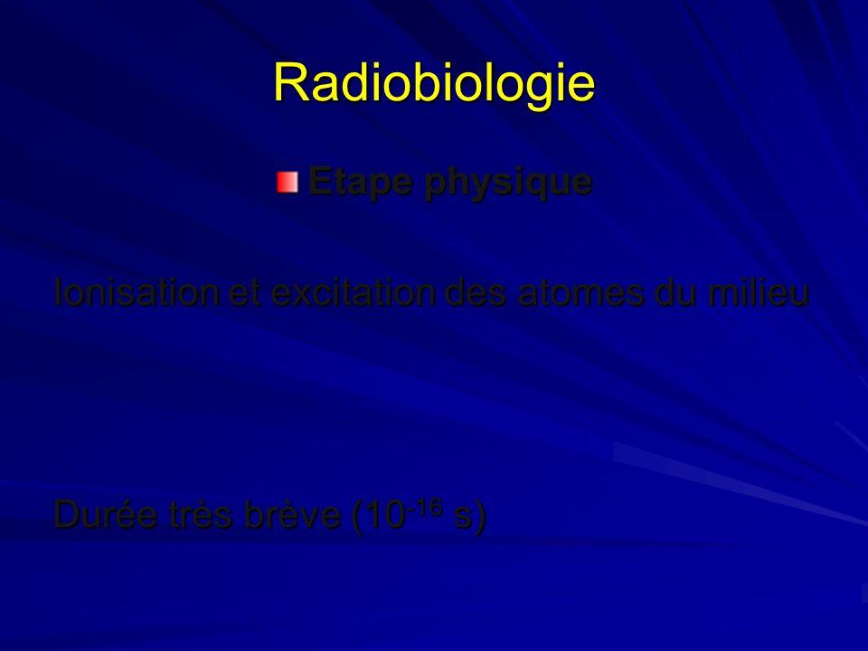 Radiobiologie Etape physique Ionisation et excitation des atomes du milieu Durée très brève (10 -16 s)