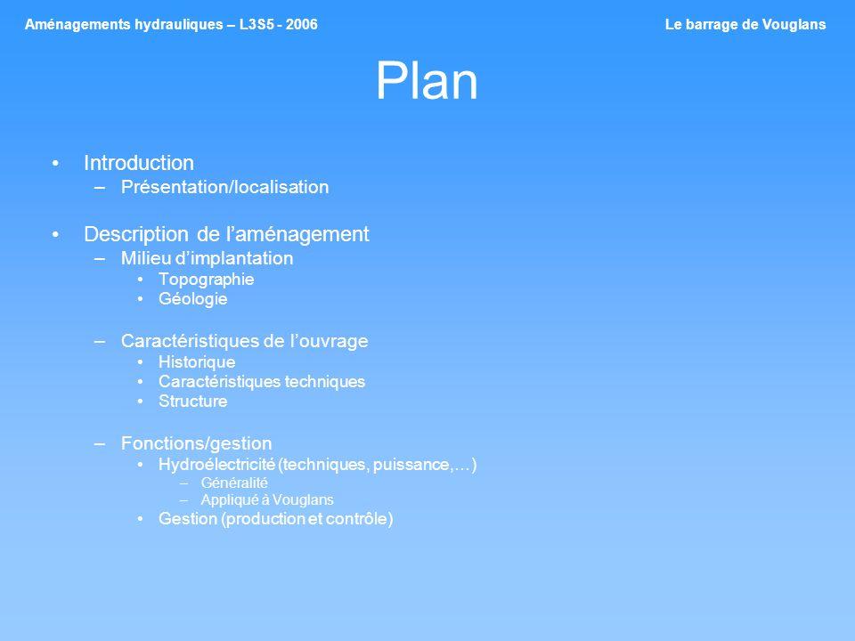 Plan Introduction –Présentation/localisation Description de laménagement –Milieu dimplantation Topographie Géologie –Caractéristiques de louvrage Hist