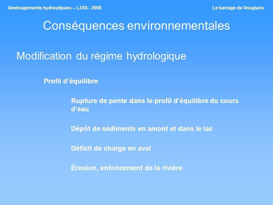 Conséquences environnementales Modification du régime hydrologique Profil déquilibre Rupture de pente dans le profil déquilibre du cours deau Dépôt de