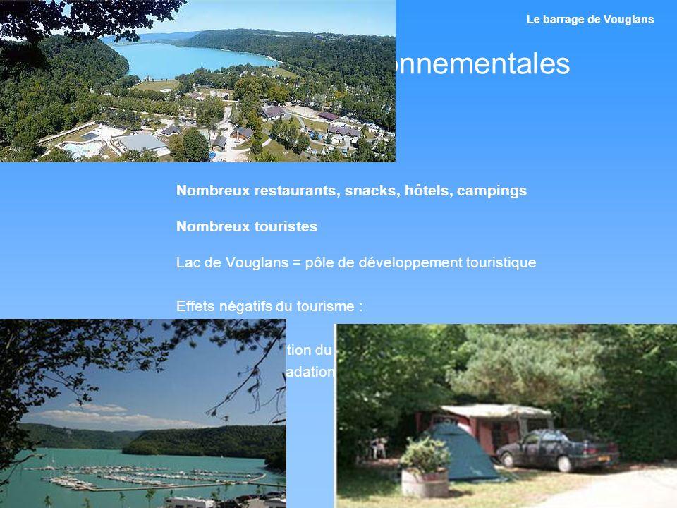 Conséquences environnementales Aménagements touristiques Nombreux restaurants, snacks, hôtels, campings Nombreux touristes Lac de Vouglans = pôle de d