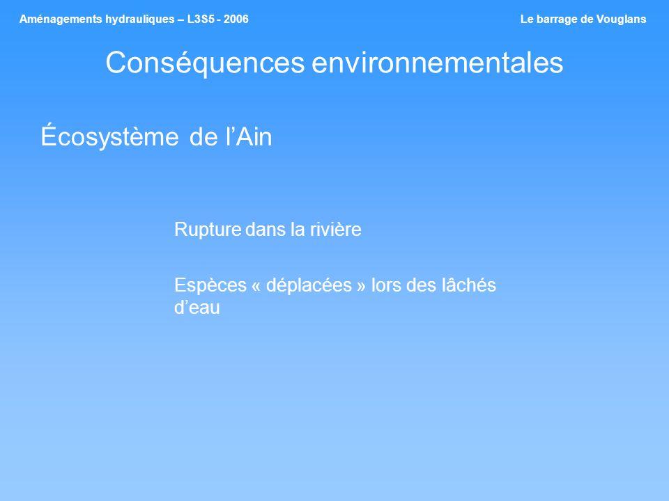 Conséquences environnementales Écosystème de lAin Rupture dans la rivière Espèces « déplacées » lors des lâchés deau Aménagements hydrauliques – L3S5