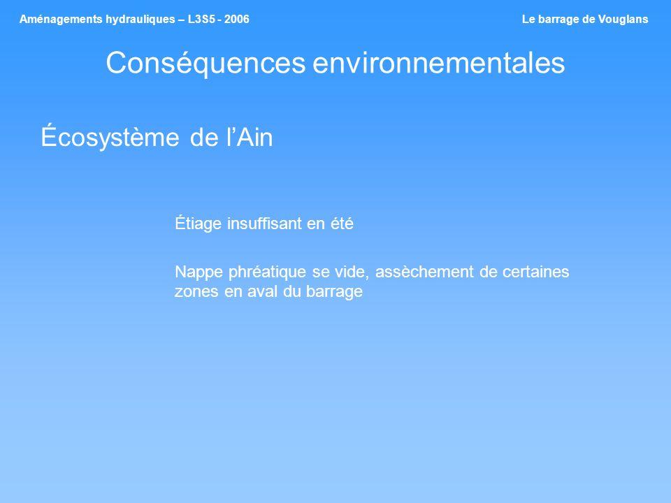 Conséquences environnementales Écosystème de lAin Étiage insuffisant en été Nappe phréatique se vide, assèchement de certaines zones en aval du barrag
