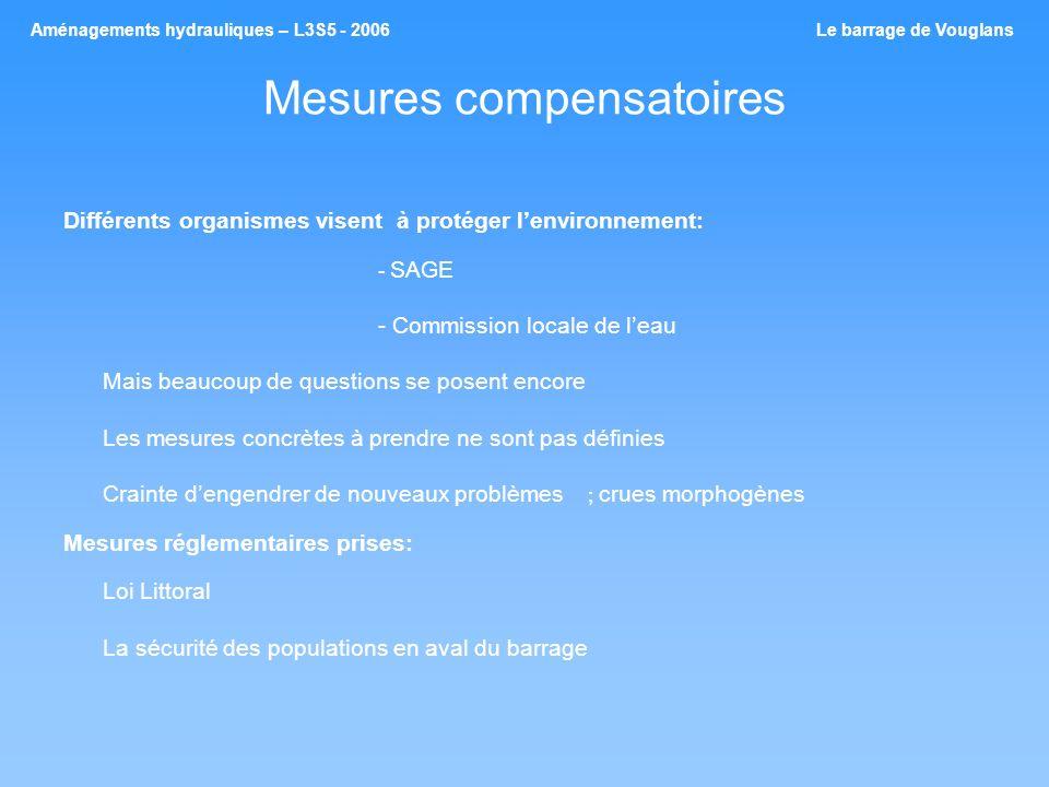 Mesures compensatoires Différents organismes visent à protéger lenvironnement: - SAGE - Commission locale de leau Mais beaucoup de questions se posent