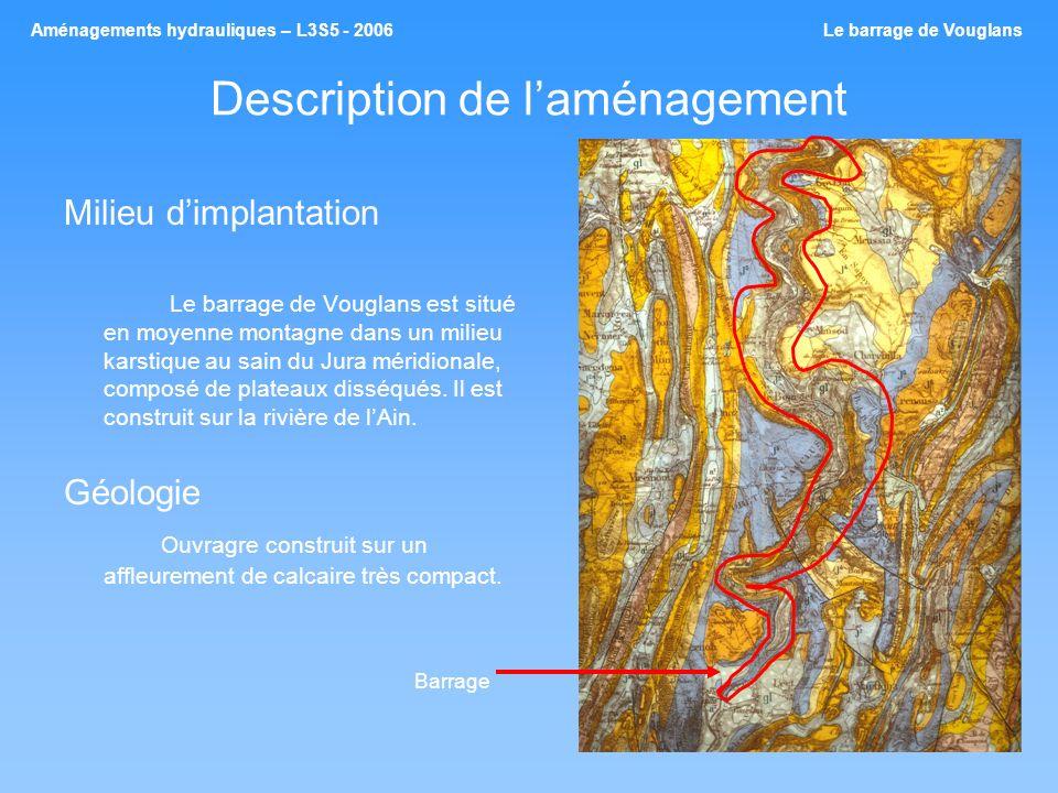 Description de laménagement Milieu dimplantation Le barrage de Vouglans est situé en moyenne montagne dans un milieu karstique au sain du Jura méridio