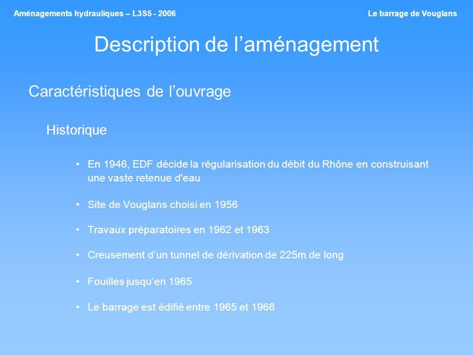 Description de laménagement Caractéristiques de louvrage Historique En 1946, EDF décide la régularisation du débit du Rhône en construisant une vaste