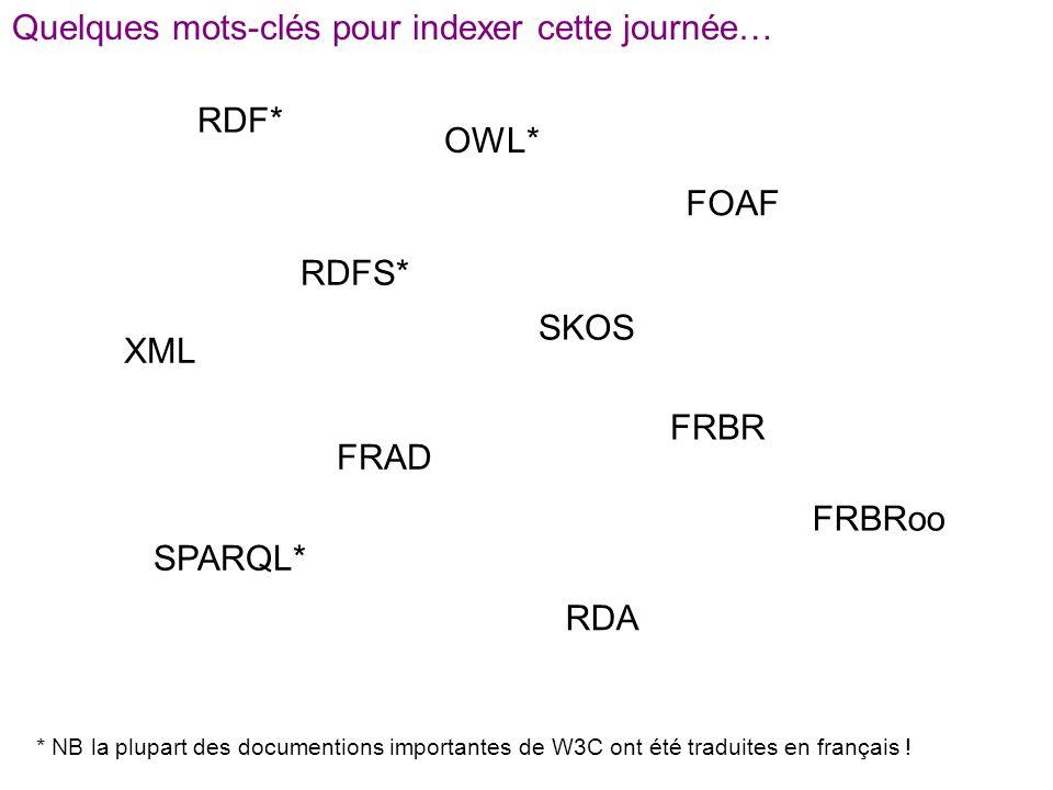 Quelques mots-clés pour indexer cette journée… RDF* OWL* RDFS* FRAD FRBR RDA SKOS FRBRoo FOAF XML * NB la plupart des documentions importantes de W3C ont été traduites en français .
