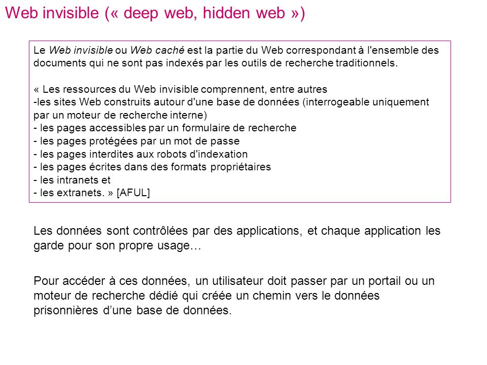 Web invisible (« deep web, hidden web ») Le Web invisible ou Web caché est la partie du Web correspondant à l ensemble des documents qui ne sont pas indexés par les outils de recherche traditionnels.